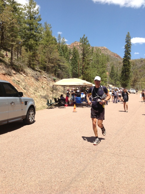 Heading out of the Fish Hatchery aid station. In 14th place here.